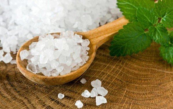 Морская соль в ложке и листья мяты