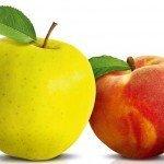 Яблоко и персик