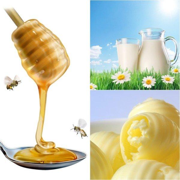Мёд, молоко и сливочное масло