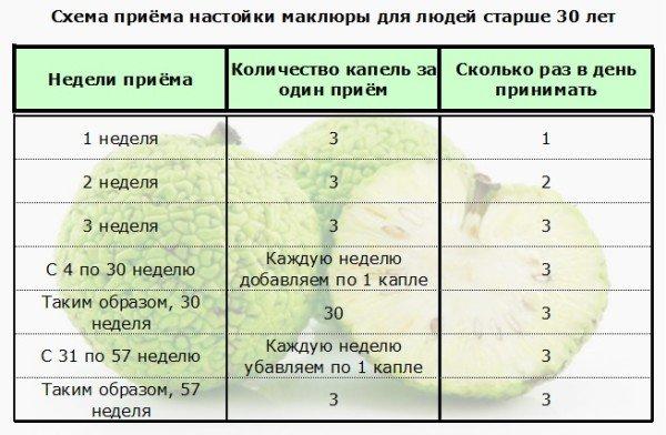 Таблица по приёму настойки адамова яблока для людей старше 30 лет