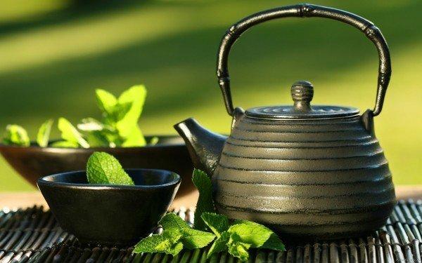 Мята в чашке и чайник