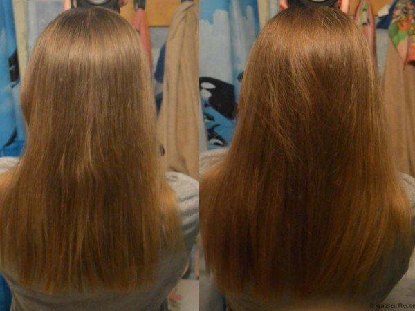 Волосы до и после применения репейного масла