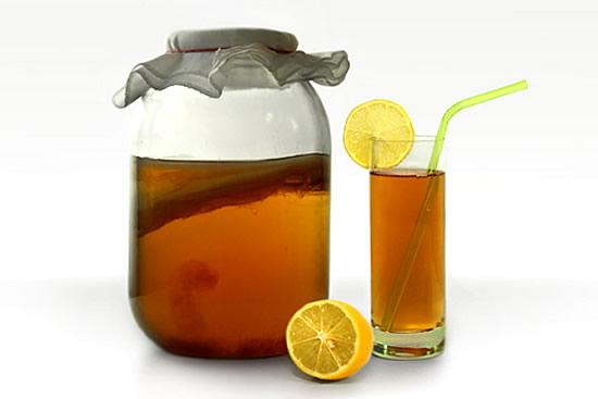 Чайный гриб в банке и стакане