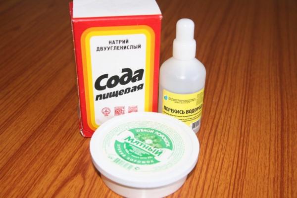 Перекись водорода и сода с зубным порошком
