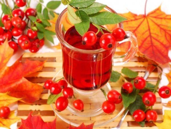 Чай с мёдом и шиповником