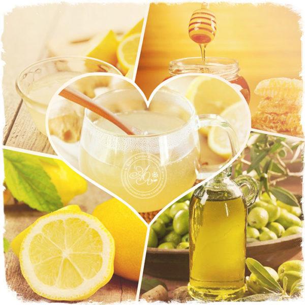 Мёд, лимоны, оливковое масло