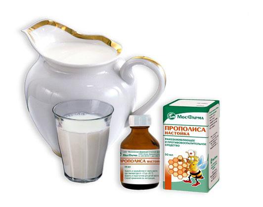 Молоко и настойка прополиса применяются при многих болезнях