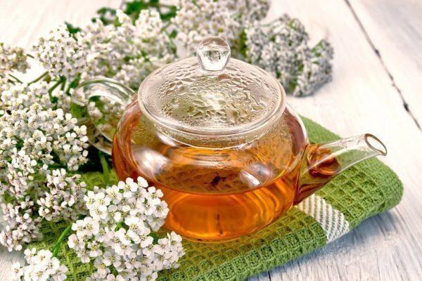 Прозрачный чайничек и цветы тысячелистника