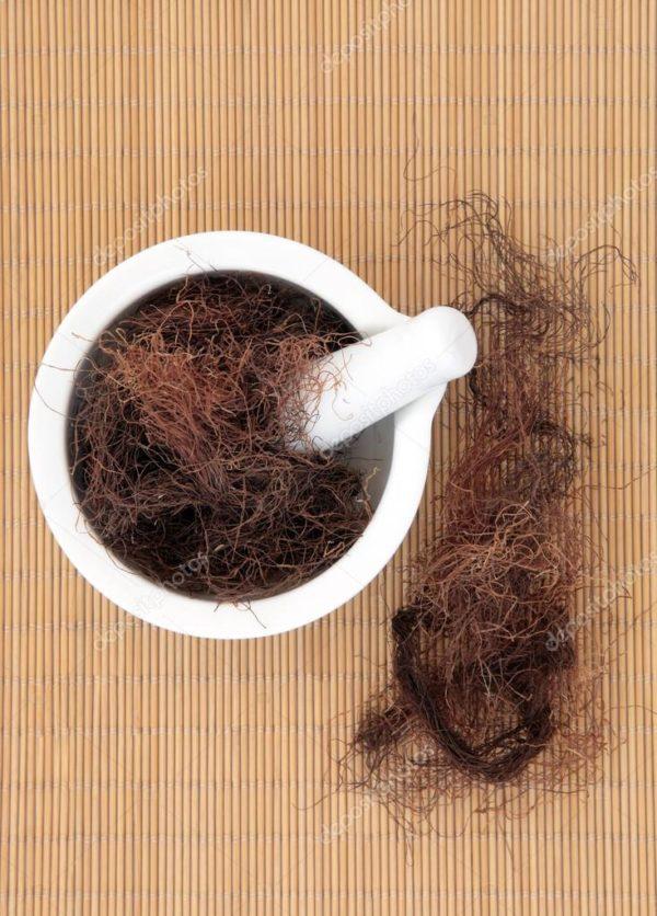 Кукурузные рыльца и белая ступка