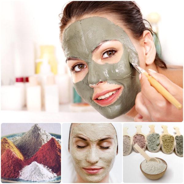 Коллаж из глиняных масок для лица