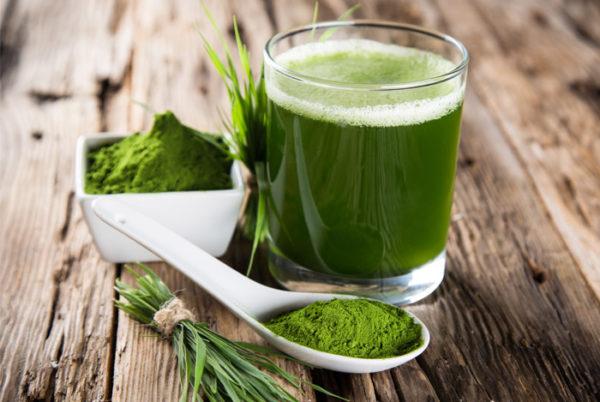 Витграсс в стакане и зелёный порошок в ложке