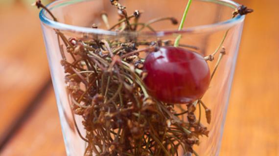 Вишнёвые черешки в стакане